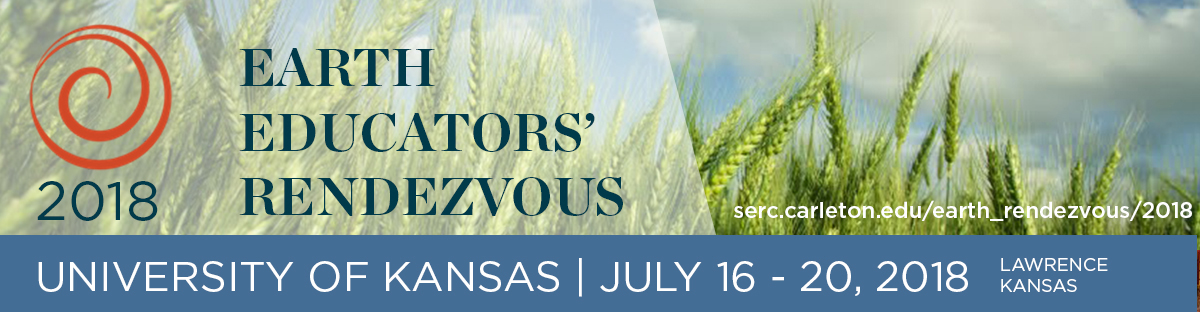 Graphic for Earth Educators Rendezvous conference with green wheat in background
